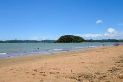 Een toneelmening van Paihia-strand bij Baai van Eilanden Stock Fotografie