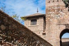 Een toren in Alcazaba van Malaga Royalty-vrije Stock Foto