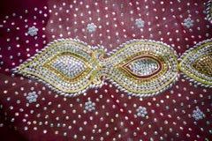 Een traditioneel close-up van Jamdani Sari Royalty-vrije Stock Afbeeldingen