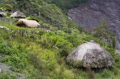 Een traditioneel dorp in Papoea Stock Afbeelding