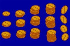 Een trap of een podium van gouden muntstukken vector illustratie