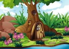 Een treehouse bij het bos stock illustratie