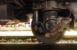 Een treinwiel met absorptievat op spoor royalty-vrije stock afbeelding