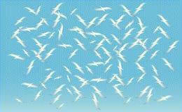 Een troep van vogels die op vector, silhouetten voeden van vliegende zeemeeuwen, reeks geïsoleerde het stijgen vogels Geometrisch stock foto's