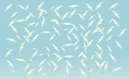 Een troep van vogels die, silhouetten van vliegende zeemeeuwen, reeks geïsoleerde witte overzichten van het stijgen vogels voeden royalty-vrije illustratie