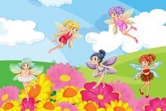 Een tuin met feeën stock illustratie