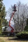 Een tuinman beweegt zich door zijn gevolgde mand Stock Fotografie