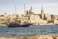 Turks Gulet jacht, Valletta Malta. Stock Afbeeldingen