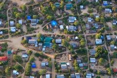 Een typisch Birmaans dorp in Bagan Pagan hierboven wordt gezien dat van, Mandalay, Myanmar stock foto