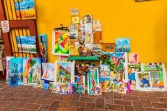 Een typische mening van Cartagena Colombia stock foto