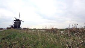 Een typische Nederlandse windmolen, Nederland stock videobeelden
