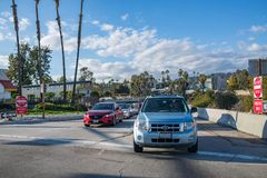 Een uitgang van de Snelwegafrit in Los Angeles Stock Foto