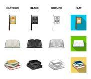 Een uithangbord, een boekhandel, een stapel boeken, een open boek Een bibliotheek en van een boekhandel vastgestelde inzameling p royalty-vrije illustratie