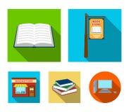 Een uithangbord, een boekhandel, een stapel boeken, een open boek Een bibliotheek en van een boekhandel vastgestelde inzameling p Stock Afbeelding