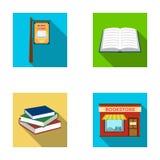 Een uithangbord, een boekhandel, een stapel boeken, een open boek Een bibliotheek en van een boekhandel vastgestelde inzameling p Royalty-vrije Stock Afbeelding