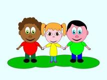 Een uitstekende koppeling van vriendschap van kinderen van verschillende nationaliteiten vector illustratie