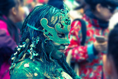 Een uitvoerder bij Randfestival in Edinburgh, 2015, Schotland royalty-vrije stock foto's