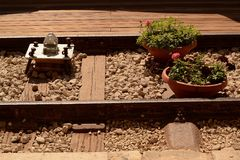 Een vaas van bloemen op de spoorweg Royalty-vrije Stock Foto's