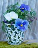 een vaas van glas met drie wit en blauwe die bloemen wordt gemaakt Stock Fotografie