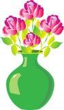 Een vaas van rozen Stock Fotografie