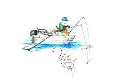 Een vader en een kind die op een boot vissen die gelukkige vadersdag schrijven Royalty-vrije Stock Foto's