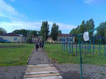 Een vakantie in een landelijke school stock foto's