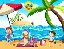 Een Vakantie van de Familiezomer bij Strand vector illustratie