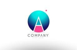 Een van het de brieven blauw roze embleem van het alfabet 3d gebied het pictogramontwerp Royalty-vrije Stock Foto's
