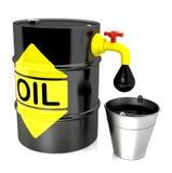 Een vat olie met een kraan stock afbeelding