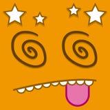 Een Vector Leuk Beeldverhaal Oranje Dizzy Face stock illustratie