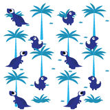 Een Vector Leuke Achtergrond van Beeldverhaal Blauwe Dinosaurussen Stock Foto