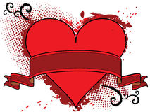 Een vector rood hart met lint Stock Afbeelding