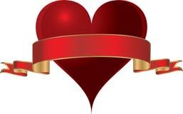 Een vectorhart met goud scherpte rood lint. Royalty-vrije Stock Afbeelding