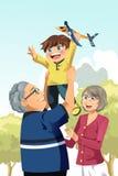 Het spelen van grootouders en van de kleinzoon stock illustratie