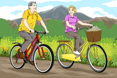 Hogere berijdende fiets stock illustratie