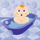 Een vectorillustratie van een leuke kleine baby die het bad nemen Stock Foto