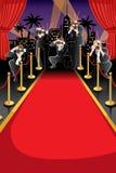 Rode tapijt en paparazziachtergrond Royalty-vrije Stock Foto's
