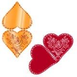 Een vectorillustratie van roze harten, geometrisch kant aan aard i stock illustratie