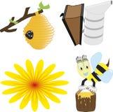 Een vectorillustratiereeks honingbij verwante pictogrammen zoals gelukkige honingbij Royalty-vrije Illustratie