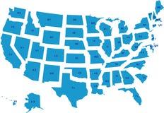 Een vectorkaart van de V.S. stock illustratie