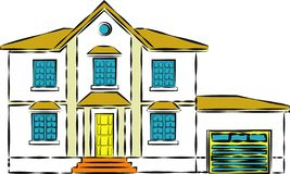 Een veelvoud storeyed plattelandshuisjehuis met gebogen dak afschilderend huis met meerdere verdiepingen - Beelden vectorielles stock illustratie