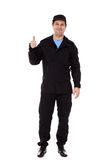 Een veiligheidsagent met een duim ondertekent omhoog Stock Foto's