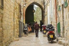 Een veiligheidscontrolepost bij een uitgang van TempleMount Jeruzalem Royalty-vrije Stock Afbeelding