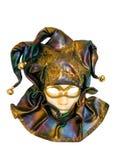 Een Venetiaans masker dat op wit wordt geïsoleerds stock foto's