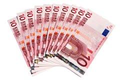 Een ventilator van 10 Euro nota's. Royalty-vrije Stock Foto