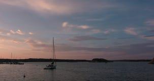 Een verankerde zeilboot die calmly in de havens roze zonsondergang bewegen stock footage