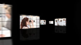 Een vergadering van architecten in een bedrijf stock video
