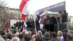 Een vergadering van de Bulgaars-Russische vriendschap in het centrum van Sofia, Bulgarije stock videobeelden