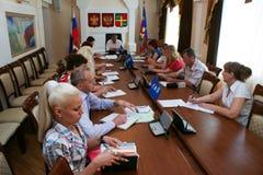 Een vergadering van de regionale raad van de Verenigde partij van Rusland in Krasnodar royalty-vrije stock foto's