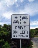 Een verkeerstekenwaarschuwing dat de bestuurders de linkerkant van de weg moeten aanhangen wanneer het drijven Royalty-vrije Stock Foto